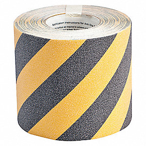 "60 ft. x 6"" Aluminum Oxide Grit Antislip Tape, Black/Yellow"
