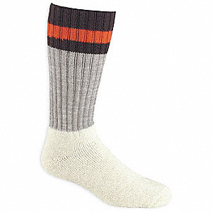 Over-the-Calf Worsted Wool, Acrylic, Nylon Outdoor Socks, Men's, Gray/White, 1 PR