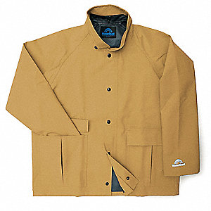 "Men's Brown Polyester Rain Jacket, Size L, Fits Chest Size 42"" to 44"", 30"" Jacket Length"