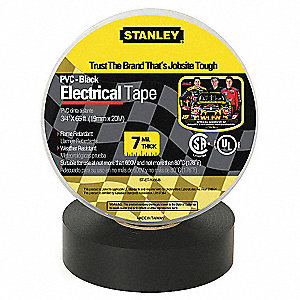"Black Flame Retardant Polyvinyl Chloride Electrical Tape, 3/4"" Width, 66 ft. Length, 7 mil Thickness"