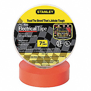 "Red Vinyl Electrical Tape, 3/4"" Width, 66 ft. Length, 7 mil Thickness"