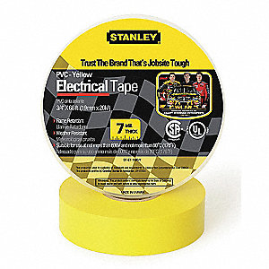 "Yellow Vinyl Electrical Tape, 3/4"" Width, 66 ft. Length, 7 mil Thickness"