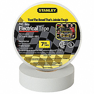 "Gray Vinyl Electrical Tape, 3/4"" Width, 66 ft. Length, 7 mil Thickness"