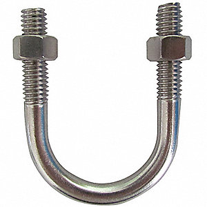 "Low Carbon Steel U-Bolt with Zinc Finish, For Pipe Size: 3-1/2"", Overall Length: —, 10PK"
