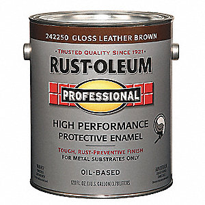 Rust Oleum Gloss Interior Exterior Paint Oil Base Leather Brown 1 Gal 3zhw9 242250 Grainger
