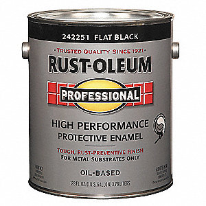 Rust Oleum Flat Interior Exterior Paint Oil Base Black 1 Gal 3zhx1 242251 Grainger