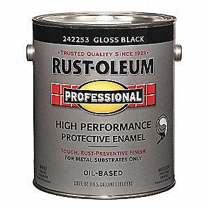 Rust Oleum Gloss Interior Exterior Paint Oil Base Black 1 Gal 3zhx3 242253 Grainger