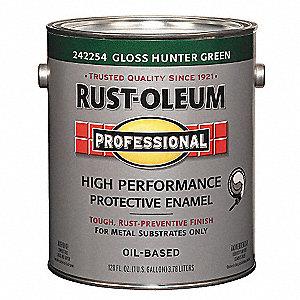 Rust Oleum Gloss Interior Exterior Paint Oil Base Hunter Green 1 Gal 3zhx4 242254 Grainger