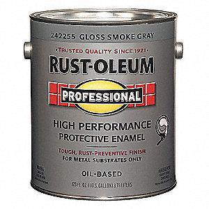 Rust Oleum Gloss Interior Exterior Paint Oil Base Smoke Gray 1 Gal 3zhx5 242255 Grainger