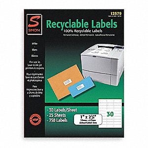 Laser Label,White,30 Signs,PK25