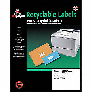 Laser Label,White,1 3/4In,PK25