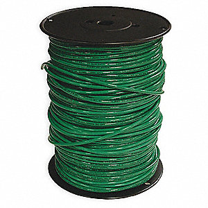 "Building Wire, Green, Solid, 30 Max. Amps, 0.15"" Nominal Outside Dia."