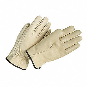 Cowhide Drivers Gloves, Shirred Wrist Cuff, Beige, Size: M, Left and Right Hand