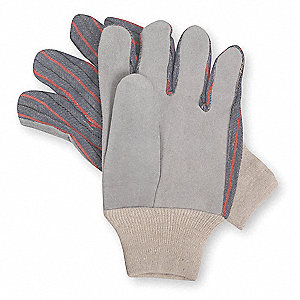 Cowhide Leather Palm Gloves with Knit Wrist Cuff, Gray, L