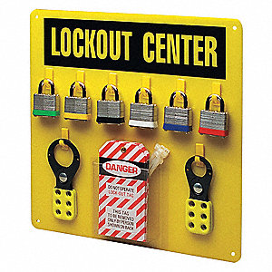 "Lockout Station, Filled, General Lockout/Tagout, 14"" x 14"""