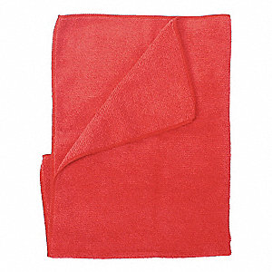 "Red Lightweight Microfiber Cloth, 16"" x 16"", 12 PK"