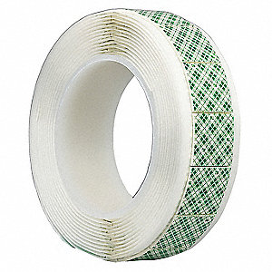 "1/2"" x 1/2"" Polyethylene Foam Double Sided Tape, 62.5 mil, White, 256PK"