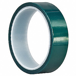 "Polyester Film Wrap, Silicone Tape Adhesive, 3.30 mil Thick, 1-1/2"" X 18 yd., Green, 1 EA"