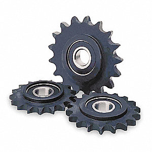 "Idler Sprocket, For Industry Chain Size 50, Outside Dia. 3.400"", 15 Number of Teeth, 1/2"" Bore Dia."