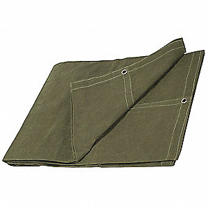 "20 mil Cotton Canvas Water Resistant Tarp, Green, 5 ft. 6"" x 9 ft. 6"" Finished Size"