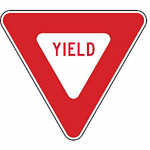 "Text and Symbol Yield, High Intensity Prismatic Aluminum Traffic Sign, Height 24"", Width 24"""