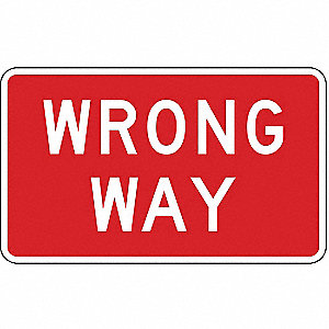 Traffic Sign,24 x 36In,WHT/R,Wrong Way