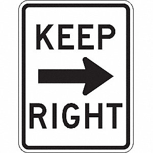 TRAFFIC SIGN,24 X 18IN,BK/WHT,KEEP