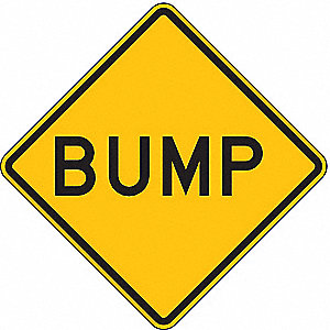 Traffic Sign,24 x 24In,BK/YEL,Bump,Text