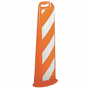 "Vertical Panel Channelizer, 39-1/2"" Delineator Height, White/Orange, HDPE, 1 EA"