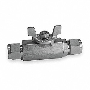 316 Stainless Steel Comp. x Comp. Ball Valve, Butterfly