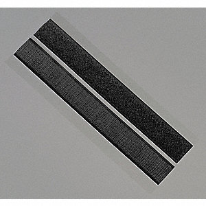 "Hook-and-Loop-Type Reclosable Fastener Shapes with Rubber Adhesive, Black, 1"" x 6"", 50PK"