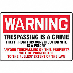 Warning Sign,24 x 36In,R and BK/WHT,ENG
