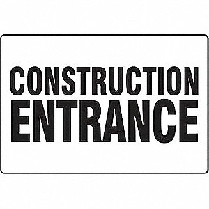 Entrance Sign,24 x 36In,BK/WHT,ENG,Text