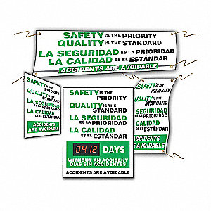 "Safety Reminder Sign, Bilingual, 28"" x 20"", 1 EA"