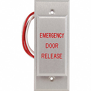 "Push to Exit Button,  Narrow Design,  3"" Height,  1-3/4"" Width,  Aluminum"