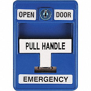 Emergency Pull Station, 30VAC/DC, Blue