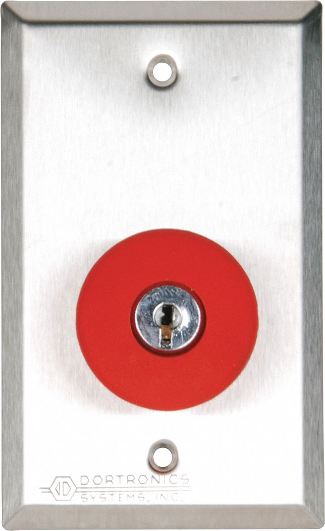 Push Button with Key Reset,  Single Gang,  4 1/2 in Height,  2 3/4 in Width,  Stainless Steel