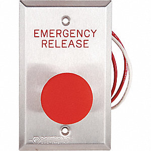"Emergency Push Button,  Single Gang,  4-1/2"" Height,  2-3/4"" Width,  Stainless Steel"