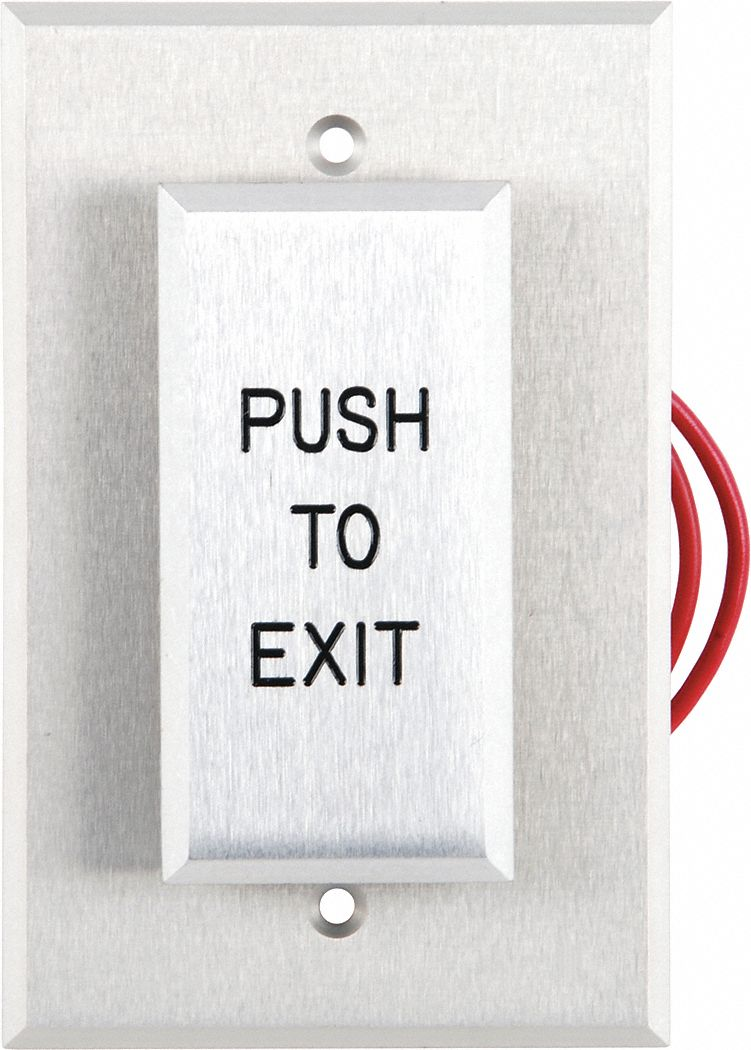 Push to Exit Button,  Single Gang,  3 in Height,  3 in Width,  Aluminum