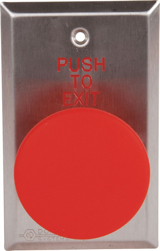 Push to Exit Button,  Single Gang,  4 1/2 in Height,  2 3/4 in Width,  Stainless Steel