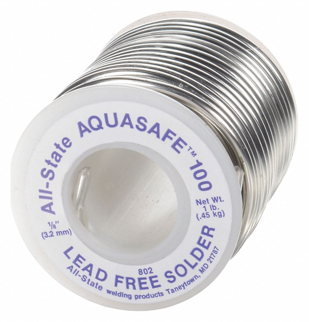 Aquasafe 100 Lead Free Solder 1/8In 1#