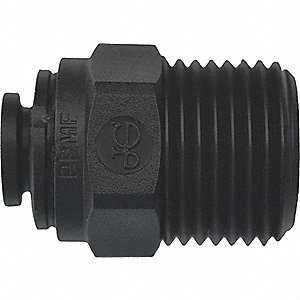 "Polypropylene Male Connector, 1/4"" Tube Size"