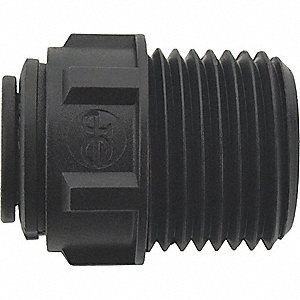 "Male Connector,Black,3/8"" Tube Size,PK10"