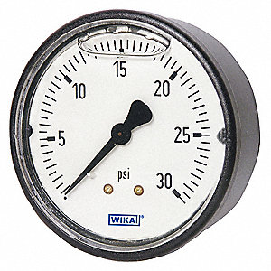 "1-1/2"" General Purpose Pressure Gauge, -30 to 0 psi"
