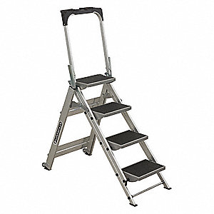 "Aluminum Folding Step, 56"" Overall Height, 300 lb. Load Capacity, Number of Steps: 4"