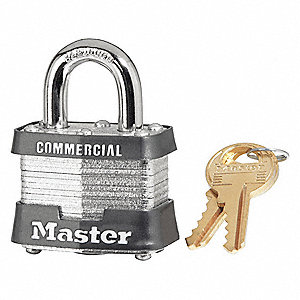 "Alike-Keyed Padlock, Open Shackle Type, 3/4"" Shackle Height, Silver"