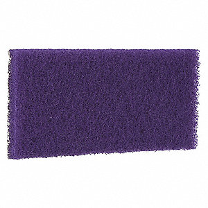 "5-1/4"" x 10-1/2"" Non-Woven Polyester Fiber Rectangular Diamond Floor Pad Plus, 3000 rpm, Purple, 10"