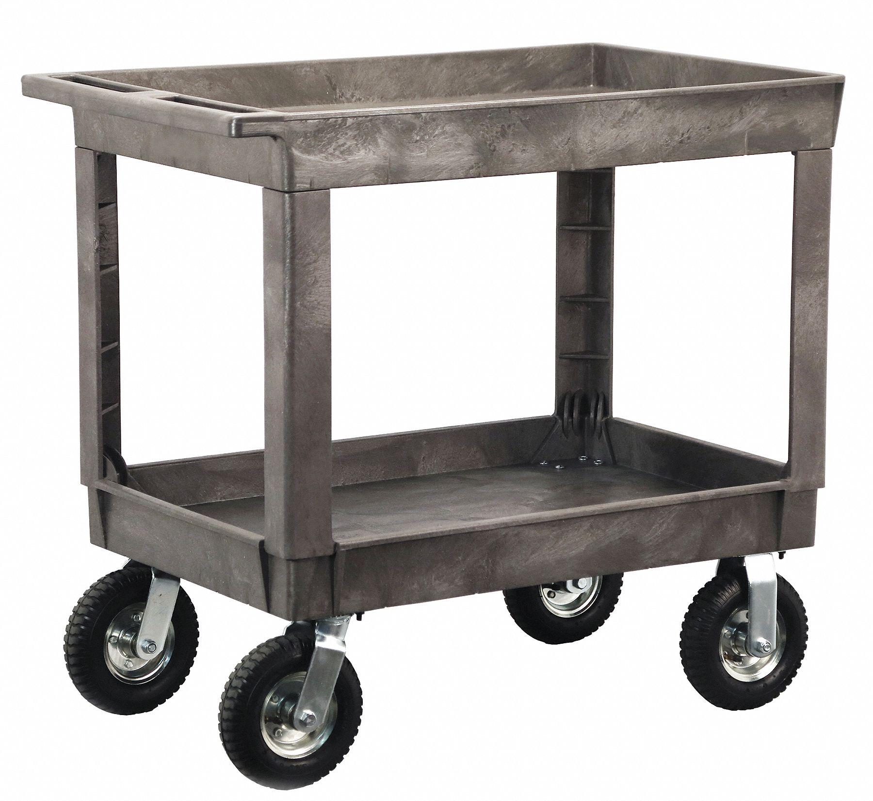 Grainger Approved Utility Cart With Deep Lipped Plastic Shelves 500 Lb Load Capacity Number Of Shelves 2 401r92 2523wwg Grainger