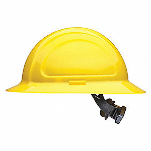 Full Brim Hard Hat, 4 pt. Ratchet Suspension, Yellow, Hat Size: One Size Fits Most