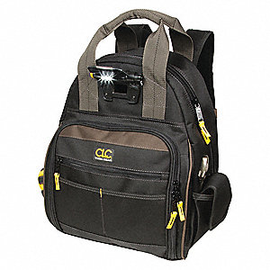 "53-Pocket Polyester General Purpose Tool Backpack, 16""H x 13""W x 8""D, Black"